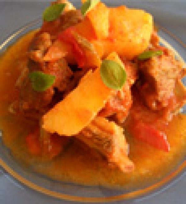 Lamb stew potatoes, peppers and marjoram